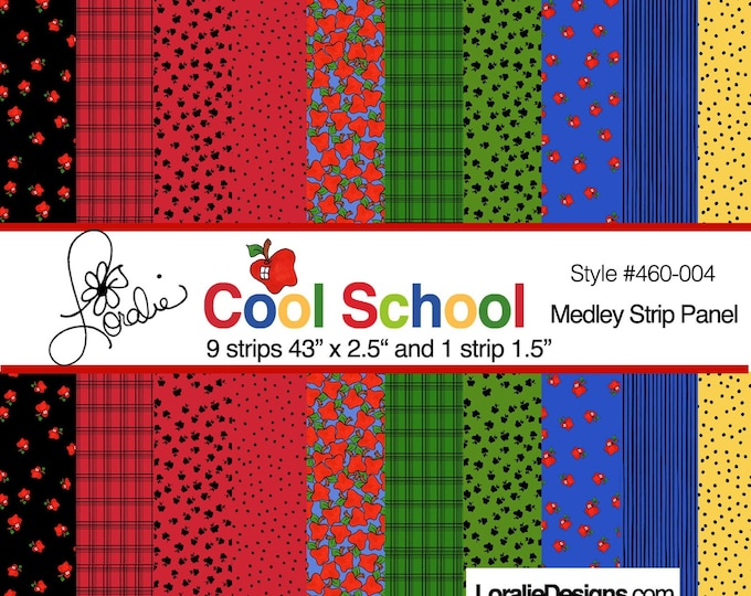 NEW - Loralie Design - Cool School Medley Strip Panel - School - Teachers - Multi  - Sold by the Panel
