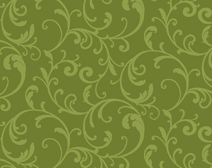 Benartex - Classic Scroll  - Scroll Fabric -  Lime - Blender - 3628-45 - Sold by the Yard