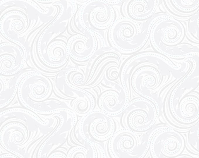 Benartex - Contempo - Crescendo - by Amanda Murphy - Wave - White -  10256-09 - Flowers and Shells  - Sold by the Yard