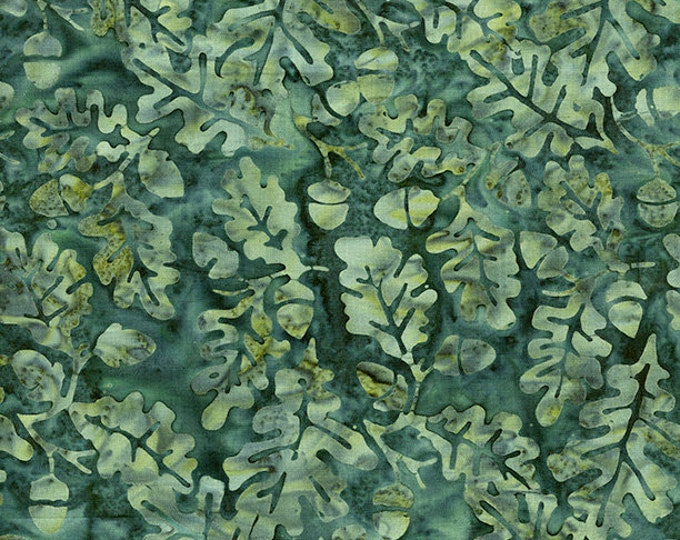 Island Batik - Acorn - Teal - Pumkin Patch - Leaf  - 121719561- Batik - Dark Teal  - Sold by the Yard