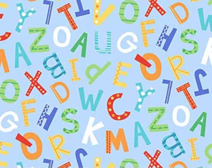 Northcot  - Alphabet Soup  - Flannel - F22391-42 - Multi Colored - Light Blue Background  - Sold by the Yard