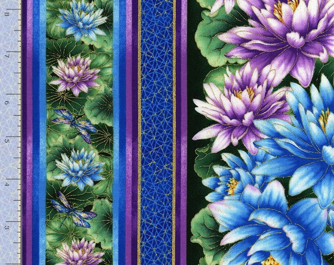 Timeless Treasures -  Water Dance - Water Lily - Dragon Fly - Dragonfly -  Gold Metallic - CM8301 - Stripe - Sold by the Yard