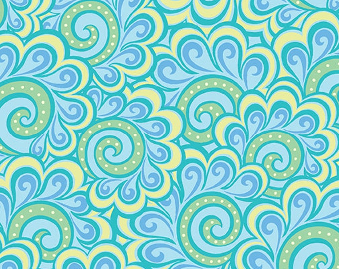 Benartex - Contempo - Free Motion Fantasy - by Amanda Murphy - Swirl Feather - Aqua - 5446-24 - Sold by the Yard