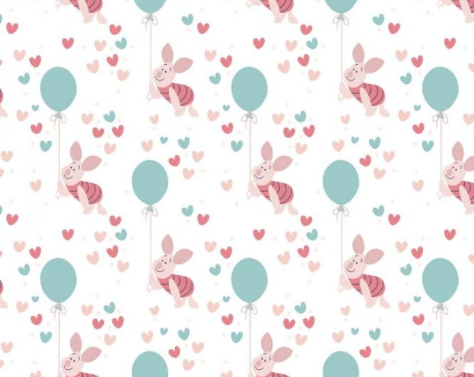 Camelot - Winnie the Pooh - Enjoy the Little Things - Piglet Balloon - Disney - Piglet - Disney Fabric - 85430522 - White - Sold by the Yard