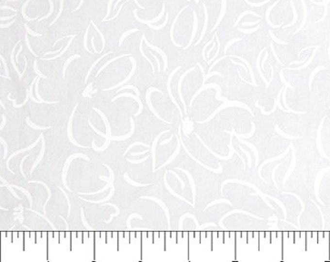 Northcott - Banyan Batik - White on White Batik - Floral  - 81200-10  - Batik - White - Sold by the yard