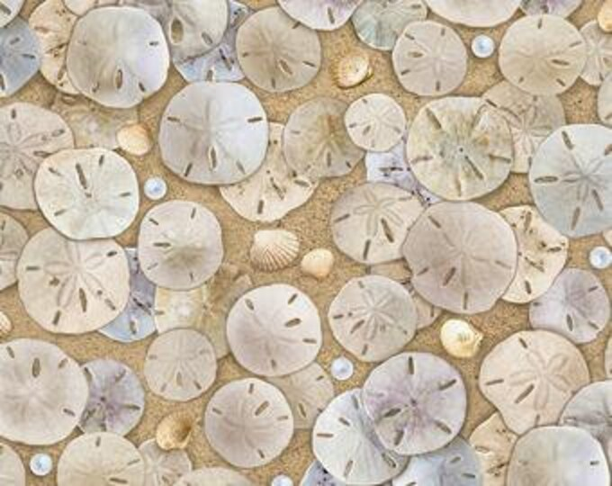 Elizabeth Studios - Landscape Medley  - Sand Dollars - 619 - Sea Life -  Sold by the Yard