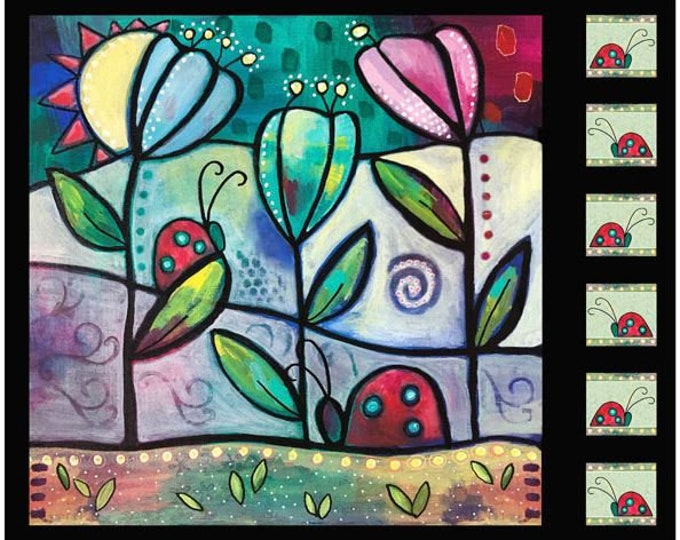 "Quilting Treasures - Painterly Garden - Ladybug Panel - 28037J - Multi - Panel - 36""x43"" - Sold by the Panel"