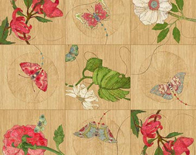 Northcott Artisan Spirit - Serendipity - Butterfly and Floral on Tan - Panel  - 21864 14