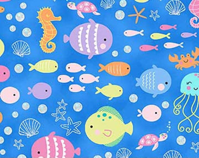 Northcott - Mermaid Wishes - Fish on Blue Background - Metallic - Glitter - GL21961 44 - Sold by the Yard