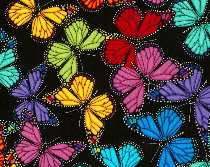 Timeless Treasures -  Prism - Butterfly - Fabric - All over Butterly Print -  Multi -  Allover Butterfly - C5384- Black  -  Sold by the Yard