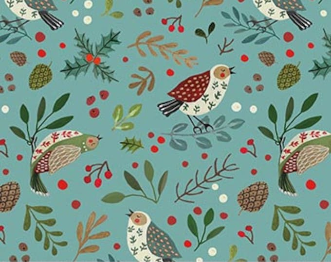 New - Northcott  - 12 Days of Christmas -  Bird and Holly  -  Teal - Partridge in a Pear Tree - DP23457-64-  Sold by Yard