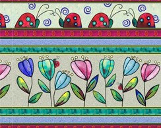"""Quilting Treasures - Painterly Garden - Ladybug Stripe - 28038X - Multi - 36""""x43"""" - Sold by the Yard"""
