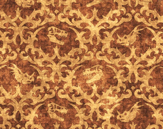 Quilting Treasures - Lost World - Dinosaur - Damask - Brown - 26801A - Sold by the Yard