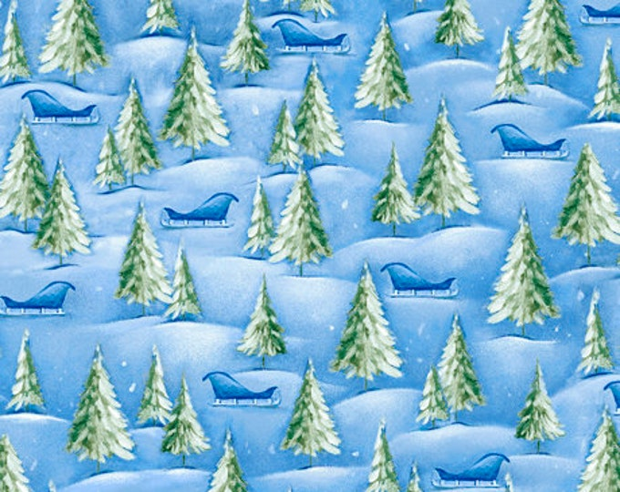 "Quilting Treasures - Woodland Cuties  - Baby Animals - Christmas - Pine Trees -  36""x44""  - 27115B - Sold by the Yard"