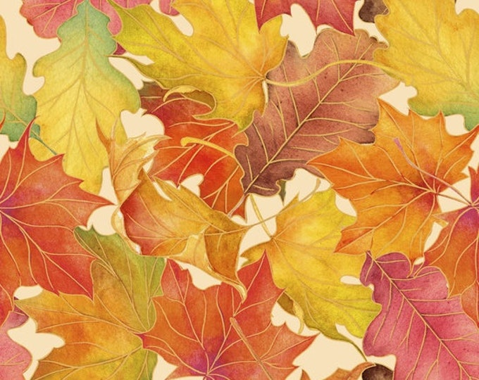 Quilting Treasures - Harvest Bounty - Autumn - Leaves - Leaves on Ecru Background - Leaves - Gold Metallic - 1649-24499-E - Sold by the Yard