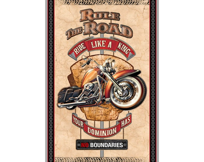 Quilting Treasures - Rule the Road - Panel - Motorcycle -  Sold by the Panel