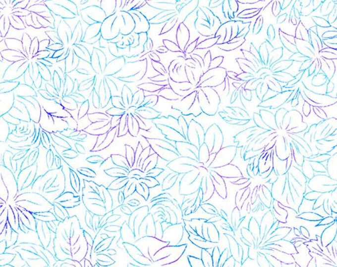 """Quilting Treasures - Mimosa - Toile Flowers - 24023Z - White  -  36""""x43"""" - Sold by the Yard"""