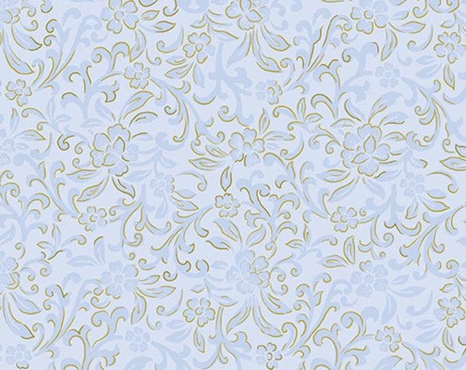 Kanvas for Benartex - Field of Dreams - Garden Scroll - Light Blue -  Gold Metallic  - 8935-05 - Sold by the Yard