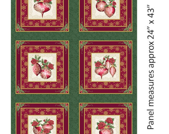 Benartex - A Festive Season II - Lace Panel -Lace Ornament - Gold Metallic - Lace - Green/Red - Panel - 2616M44B - Sold by the Panel