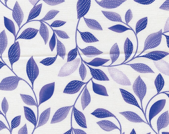 Kanvas for Benartex - Pearl Reflection - Pearl - Shimmer Leaves - White/Purple - 8806P-06- Pearl - Sold by the Yard