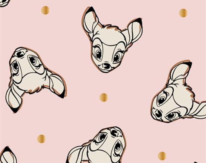 Camelot - Cute and Wild - Bambi  -  Disney - Bambi Head  -  Disney Fabric  - Pink - Sold by the Yard