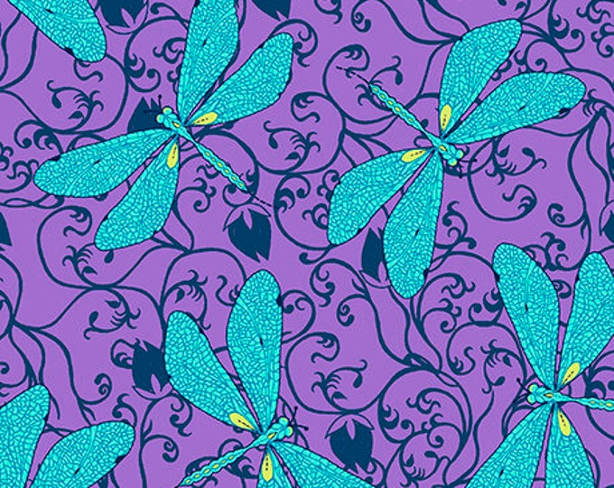 Quilting Treasures - by Junebee Designs for Ink & Arrow fabrics -  Hayden - Dragonfly - 26304 V - Sold by the Yard