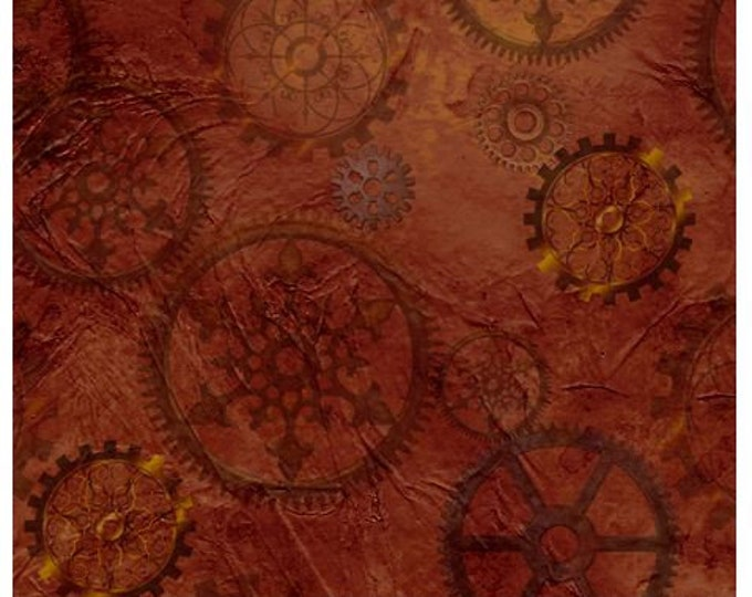Quilting Treasures - Steampunk Halloween - Steampunkery -  Gears - Brown - Steam Punk  - 27772A - Sold by the Yard