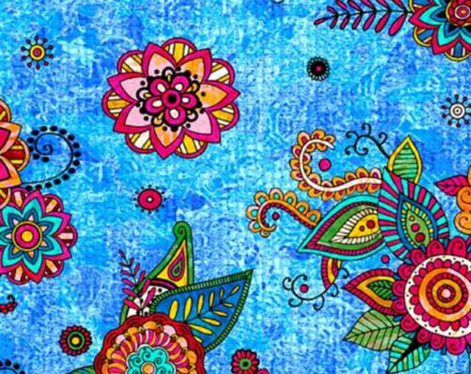 Quilting Treasures -Fiolrella - Blue -  27180B - Fabric by the Yard