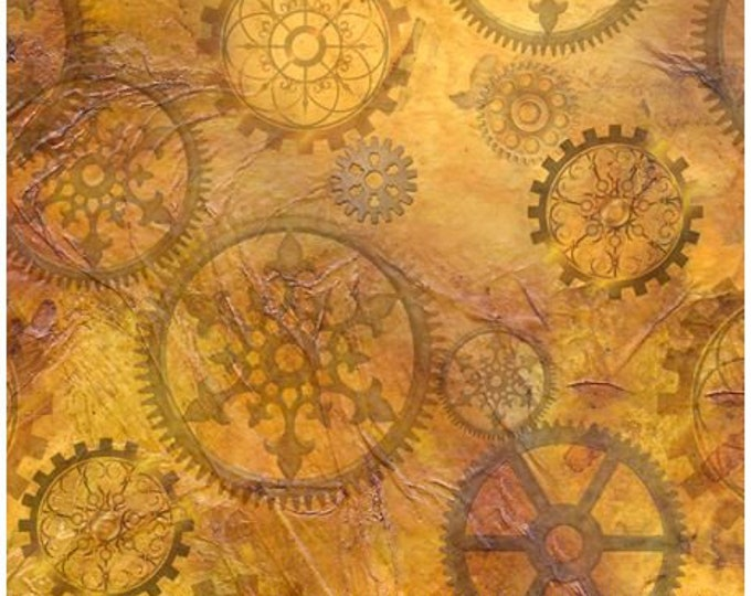 Quilting Treasures - Steampunk Halloween - Steampunkery -  Gears - Antique Gold - Steam Punk  - 27772S - Sold by the Yard