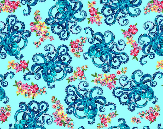 Studio E - Blooming Ocean - Octopus's Garden - 5403-17  - Light Blue - Sea Life  - Sold by the Yard