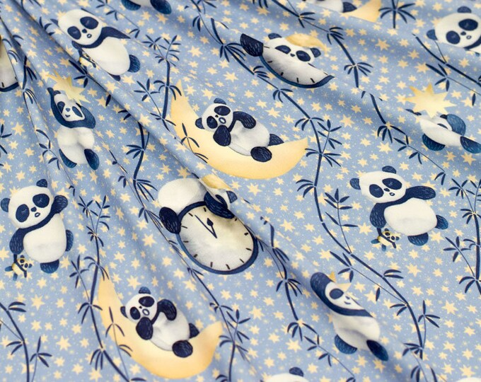 Marketa Stengl by Fabric Merchants - Small Pandas on Cresent Moon Blue/Yellow - 74-10536 - Sold by the Yard