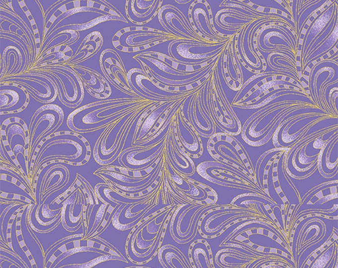 Benartex - Cat-I-Tude 2 - Purrfect Together -  Cat - Metallic - Featherly Paisley - Purple - 7555M66B  - Sold by the Yard