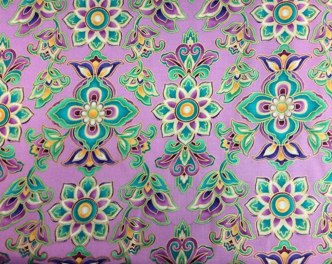 Michael Miller Fabrics -  Paisley Moon - Gold Metallics - Lavender - Sold by the Yard