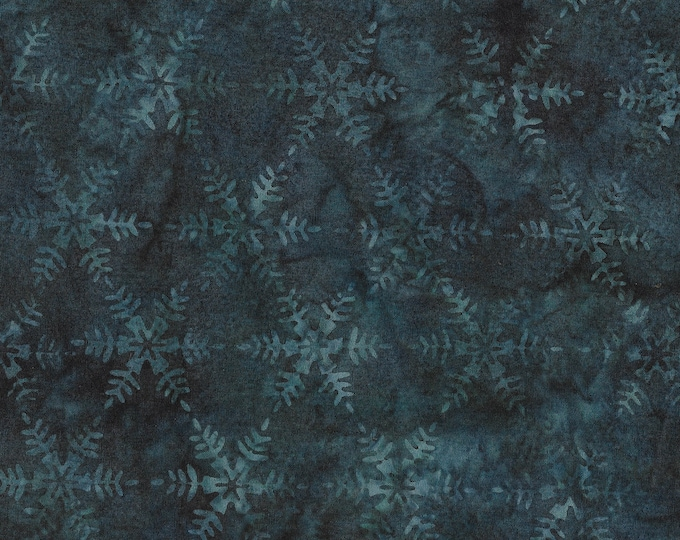 Island Batik - Snowflake - Snowflake Batik -  Batik -  Storm - Dark Green  - Sold by the Yard