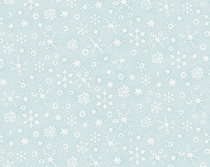 Benartex - White Woodland - Whisper Snowflake  - Light Turquoise -- 06650-04- Sold by the Yard