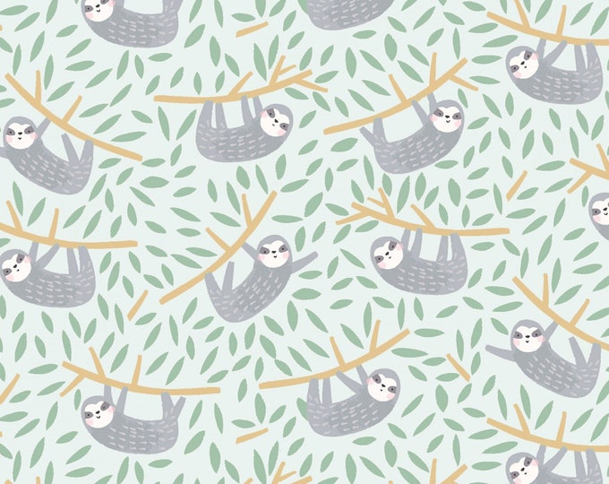 Dear Stella - Born to be Wild  - Hanging in There - Sloth -  1215 -  Mist - Animal - Sloth Fabric  -  Sold by the Yard