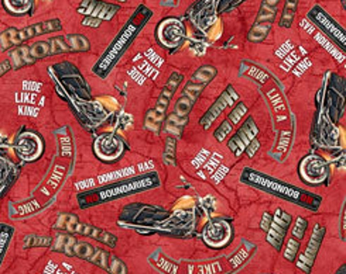 Quilting Treasures - Rule the Road - Lingo - Red - Motorcycle  -  26688R - Sold by the Yard