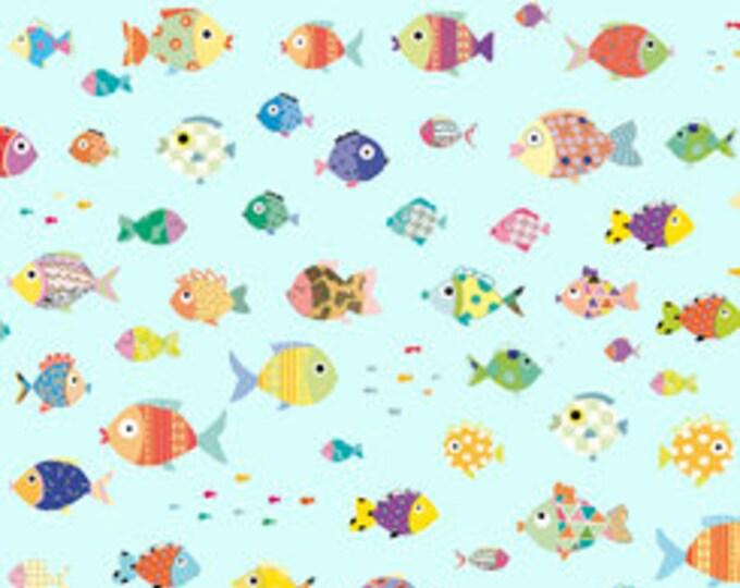 Quilting Treasures - Sea Buddies - Fish - Aqua - Sea fabric  - 27621Q -  Sold by the Yard