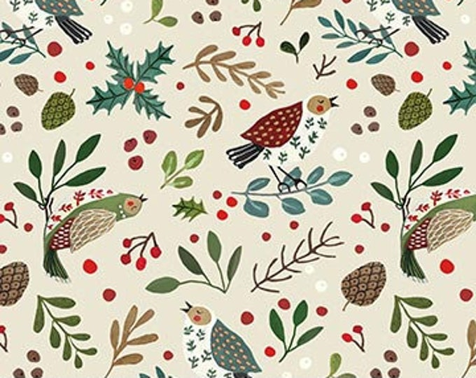 New - Northcott  - 12 Days of Christmas -  Bird and Holly  -  Beige - Partridge in a Pear Tree - DP23457-12-  Sold by Yard