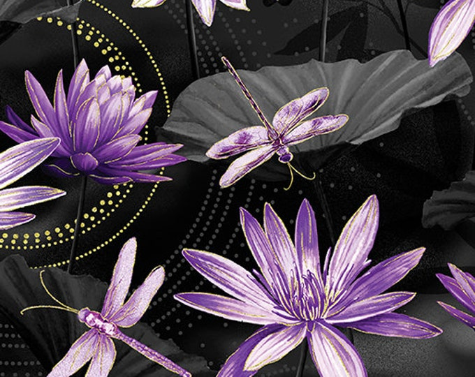 Kanvas for Benartex - Dance of the Dragonfly - Waterlily Pool - Black/Purple - 8499M-66 - Gold Metallic - Sold by the Yard