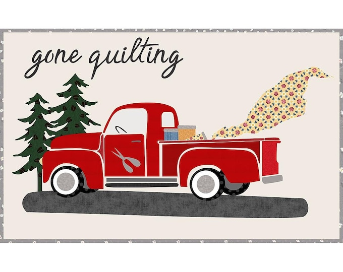 "Gone Quilting  - Pre-cut/fused Kit - 48""x30"" - Precut/Fused Applique Kit - precut kit - Red Truck - Sold by the Kit"