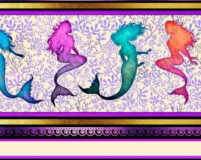 "Quilting Treasures - Sea Serenade  - Mermaid - Stripe  - Purple -  36""x44""  - 27191V - Sold by the Yard"