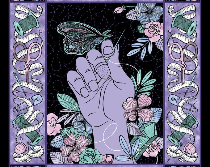 Camelot Mystic - The Quilter Tarot Panel -  Sewing theme with floral and moth - Quilter - Tarot Card Panel - 21191307PJ - Sold by the Panel