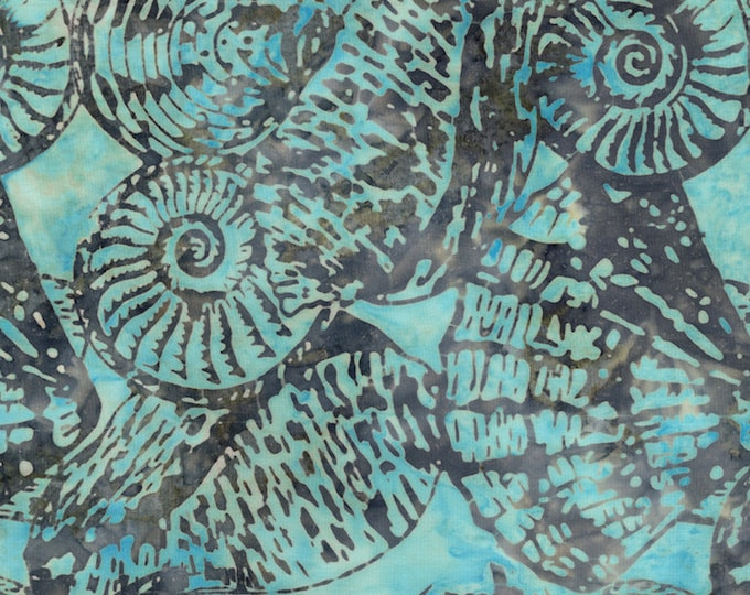 Tonga Batik - Shore - Shells - Shell Batik - Gray on Teal - Sea Shells  - Batik -  Sold by the Yard