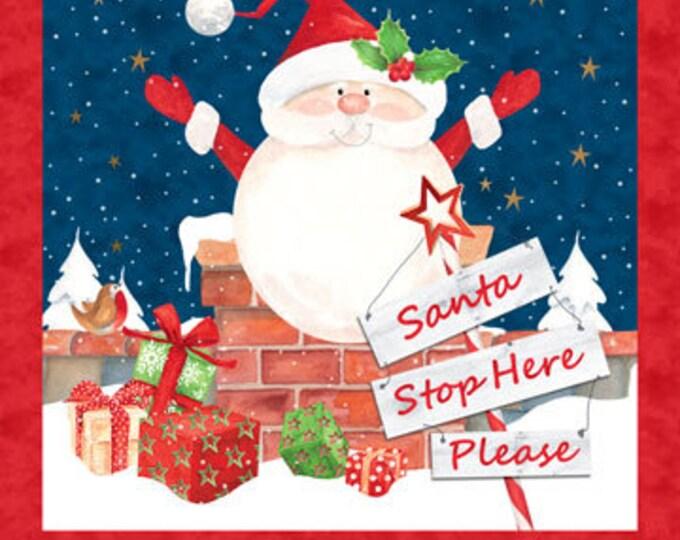 """Northcott - Santa Stop Here - Paneal - Santa Panel - Christmas - Holiday Fabric - Santa Fabric - DP23485 49 -  24""""x44"""" - Sold by the Panel"""