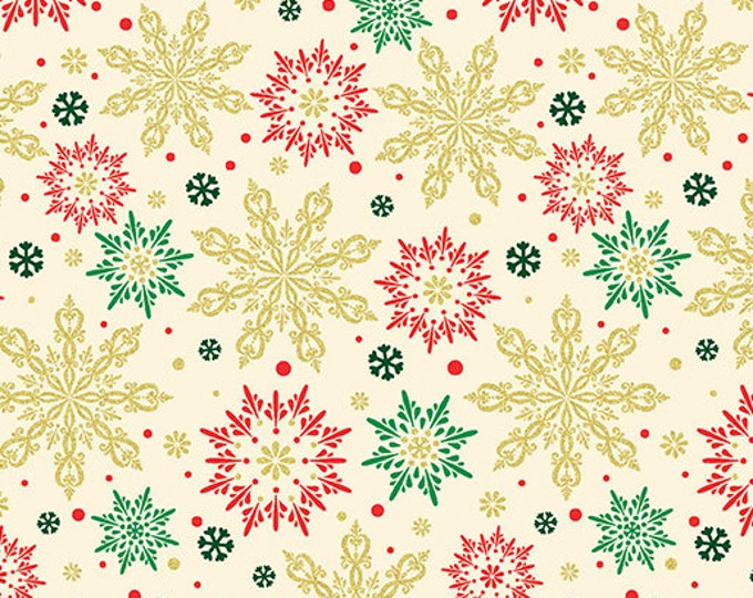 Kanvas for Benartex - Merry and Bright -  Snowflake - Christmas -  Metallic -  Green /Red/Cream -  8799M07  - Sold by the Yard