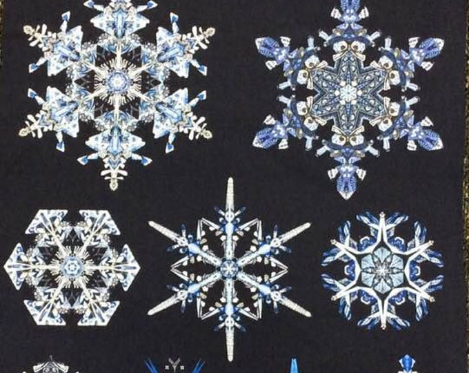 Benartex - Artful Snowflake  - By Paula Nadelstern - Snowflake Panel  -  Snowflake - Panel - Silver Metallic - 6891M-55 - Sold by the Panel