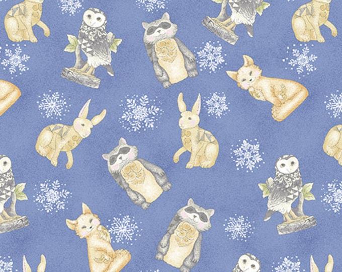 Benartex - White Woodland - Woodland Creatures - Periwinkle  - Winter Animals - Woodland Animals - 06647-50 - Sold by the Yard