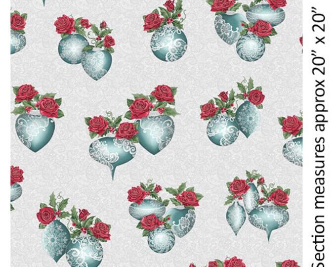 Benartex - A Festive Season II - Lace Ornament - Silver Metallic - Lace - Pewter - Teal/White - 2618M08B - Sold by the Yard