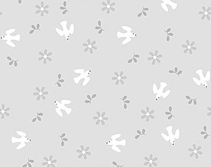 New - Northcott - Hello Little One - Gray Birds - Animal Baby Print - Baby Pastel - Baby - Pastel - 22696-91 -  Sold by yard